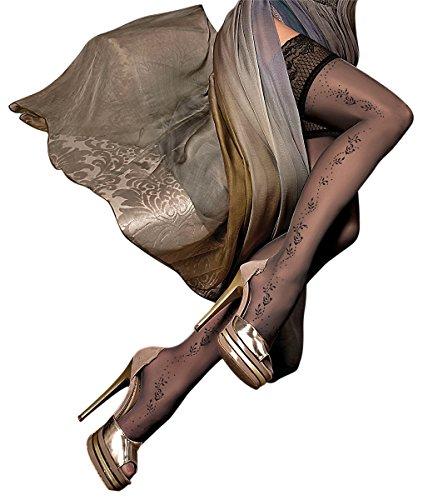 Ballerina erotische Halterlose Damen-Strümpfe, schwarz, sexy Stockings, Reizwäsche, Spitze, Strapsoptik Größen Small / Medium