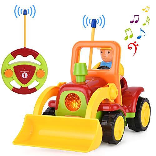 GotechoD Ferngesteuertes Spielzeugautos RC Auto Spielzeug mit Licht Musik, Auto mit Fernbedienung für Baby Kleinkind Kinder 2 3 4 5 Jahre (Bagger)