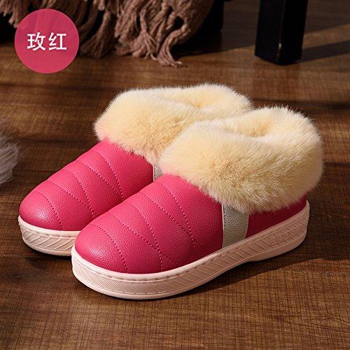 DogHaccd pantofole,Autunno Inverno uomini e donne paio di pantofole di cotone di spessore a caldo con anti-skid pacchetto di soggiorno in un lussuoso scarpe di cotone 9 Il rosso2