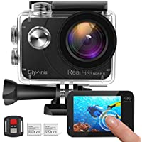 Glymnis Action Camera Real 4K 16MP WiFi Underwater 40M Waterproof EIS 2 Inch Touch Screen Remote Control Sport Cam with 2 Rechargeable 1350mAh Batteries and Mounting Accessory Kits