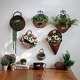 Salice cestini vimini rattan fiore fatto a mano da appendere Nest vaso di fiori vaso appeso vaso contenitore, C:leather Willow, C:Small