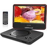 WONNIE 2019 Upgrade 11.5' Lecteur DVD Portable avec écran Rotatif à 270°,Carte SD et Prise USB avec Charge directe Formats/RMVB/AVI / MP3 / JPEG, Parfait pour Enfants (Rouge)