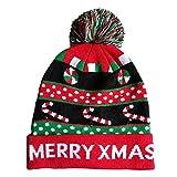Weihnachten LED Mütze Geili LED Hüte Partyhut leuchtende Strickmütze Geburtstag Hut Wintermütze Weihnachtsmütze als Geschenk für Damen und Herren Unifarbene leuchtende Skimütze Funny Mütze