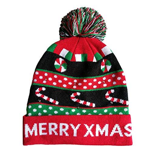 faschingskostuem qualle VRTUR Weihnachten Mütze LED Aufhellen Strickmütze Gestrickt Hässlich Sweatshirt Urlaub Unisex Strickmütze Cap Hut