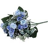 1x artificiale piccola rosa fiori artificiali per la decorazione domestica senza vaso & Basket, 1bunch di fiori, blu