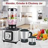 Inalsa Food Processor INOX 1000-Watt With Blender Jar / 304 Grade SS Dry Grinding / Chutney Jar / 7 Accessories | 2 Yr Warranty on Motor |Centrifugal/ Citrus Juicer | (Black/Silver)