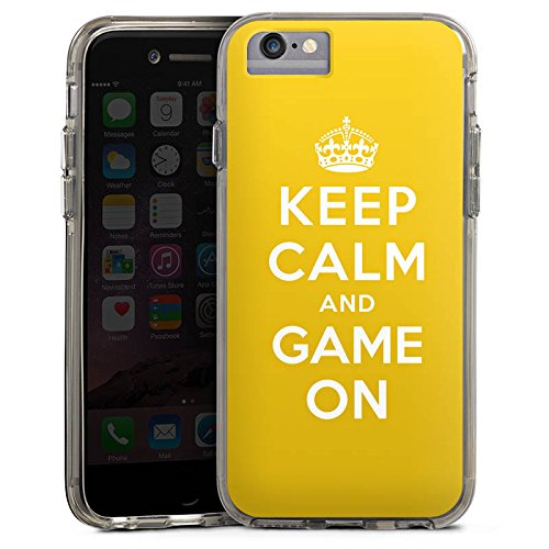 Apple iPhone X Bumper Hülle Bumper Case Glitzer Hülle Keep Calm Gaming Statements Bumper Case transparent grau