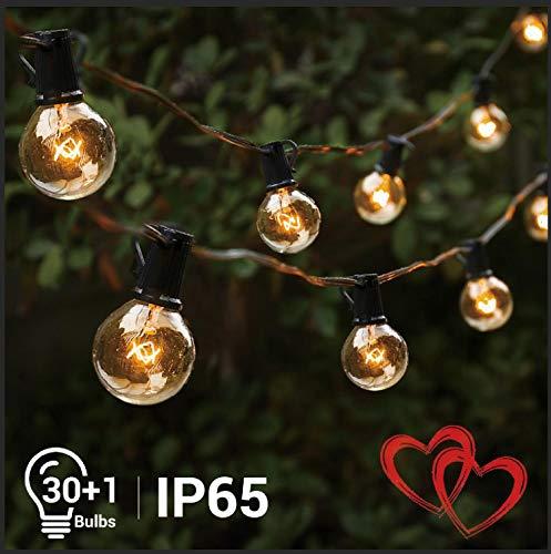 elegear catena luminosa 30+1 filo luci esterno professionali ip65 impermeabile g40 illuminazione giardino per festa, matrimonio, party decorazioni di nozze [classe di efficienza energetica a +]