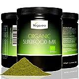 SUPERFOOD MIX normal 480 g de Vegavero, 100% BIO, CALIDAD DE LOS ALIMENTOS RAW, 15 súper diferente incl. Moringa oleífera, Matcha, hierba de trigo, cebada forrajera, vegano, la calidad 100g de Alemania