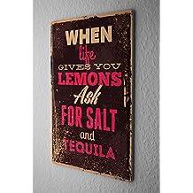 Cartel Letrero de Chapa Refranes Tequila