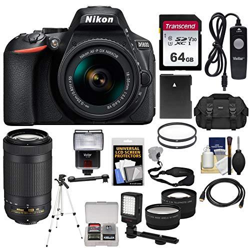 Nikon D5600 Wi-Fi Digital SLR Camera & 18-55mm VR DX AF-P + 70-300mm VR AF-P Lens + 64GB Card + Case + Flash + Video Light + Battery + Tripod Kit