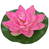 #7: Sethi Traders Artificial Lotus Floating Flower In Plastic Pink Lotus With Rubber Leaf 3 Piece Set