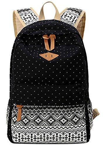 Panegy Damen Mädchen Mode Design Drucken Punkt Canvas Schulrucksack Laptop Reisen Rucksack für Freizeit Camping Picknick Außflug Sports Backpack - Schwarz