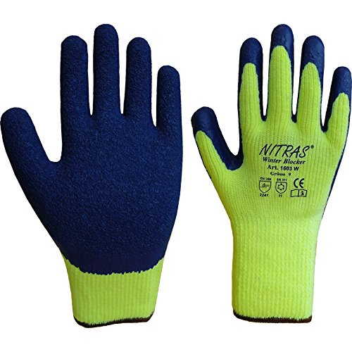 72 Paar NITRAS 1603W Winterhandschuh Winter Blocker, gelb/blau, Thermo , Gr.: 10