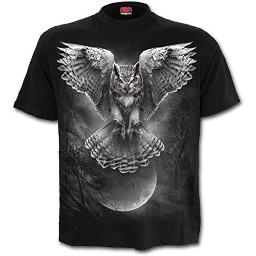 Alas de la sabiduría, búhos fantasía metal gótico camiseta para hombre de Negro - L - Espiral
