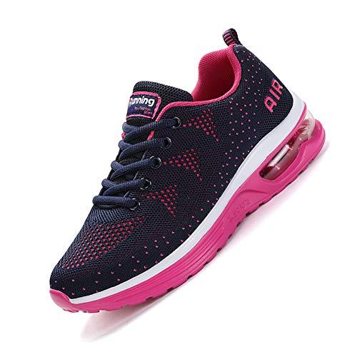 smarten Laufschuhe Damen Herren mit Dämpfung Air Turnschuhe Schuhe mit Luftpolster Jogging Sneaker Männer Unisex Pink 39