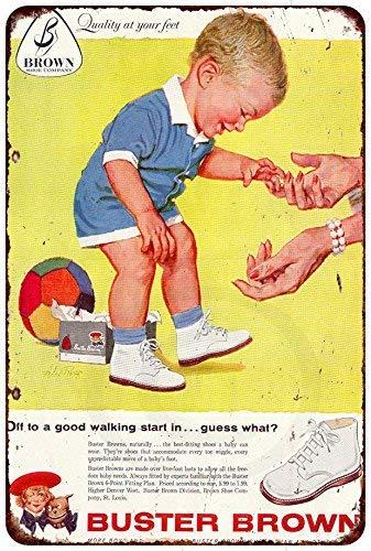 qidushop 1959 Metallschilder mit braunen Babyschuhen, für Garage, Haus, Hof, Zaun Auffahrt, 20 x 30 cm