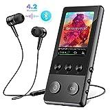 Lettore MP3, 8GB Bluetooth 4.2 Portatile Lossless Sound MP3 Lettore Musica con Pedometro/Radio FM/Registratore Vocale, Supporto Espandibile Max Fino a 128GB, Nero