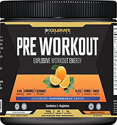 Xcelerate Pre Workout 30 Servings (330g) Pre-Workouts/Explosive Energy/Pump Supplement Powder Pre Workout Drink from XCelerate