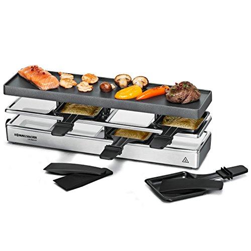 ROMMELSBACHER RC 800 Raclette-Grill fun for 4 (Tischgrill, für 4 Personen, erweiterbar, Parkdeck, Alu-Druckguss-Grillplatte mit Xylan Plus Antihaftbeschichtung, 795 W) silber
