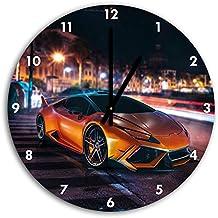 foto huracan Lamborghini en el reloj de pared con negro señaló las manos y la cara, de 30 cm de diámetro, decoración perfecta para su hogar, idea regalo estupendo para jóvenes y mayores