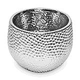 Kaheku Kübel CORO, Keramik, silber glasiert (Ø23 x H19 cm)