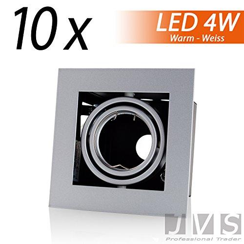Kit Q de 41 kardanisch 230 V avec câble de raccordement avec douille GU10 LED 4 W blanc chaud (15 cm) SMD LED spots encastrés plafond Spot Plafond Spots [carré, orientables] Moderne Lot de 10