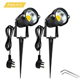Onerbuy Bright Outdoor LED Landscape Lighting 5W COB Decorative Garden Wall Yard Path Lawn Light Lamp with Spiked Stand and Power Plug, Pack of 2 (Warm White)
