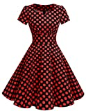 Dresstells Damen Vintage 50er Rockabilly Kurzarm Swing Kleider Partykleid Black Red Dot XL