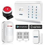 KERUI - 8218G Kit Antivol Sans Fil Clavier Téléphonique GSM PSTN/RTC Appel 99zones