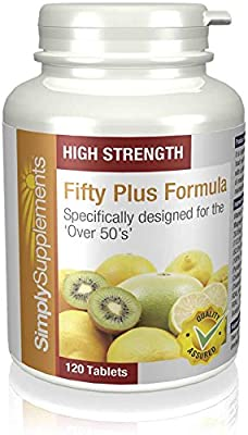 50 Plus Formula | Essential vitamins for over 50's | 120 Tablets | 100% money back guarantee | Manufactured in the UK by Simply Supplements