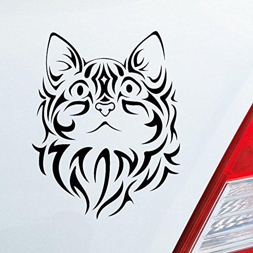 Auto Aufkleber in deiner Wunschfarbe Katze Cat Tier Animal Süß Tribal Tattoo 10x13 cm Autoaufkleber Sticker Folie