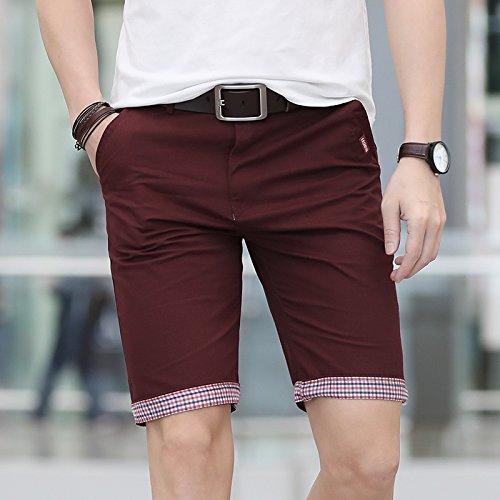 WDDGPZDK Strand Shorts/Sommer Lässige Shorts Men Plaid Saum Baumwolle Kurze Hosen Mode Streetwear Hosen Mann Kurze Pantalon Gericht Plus Größe Männer, Rote Shorts Mich, 31. -