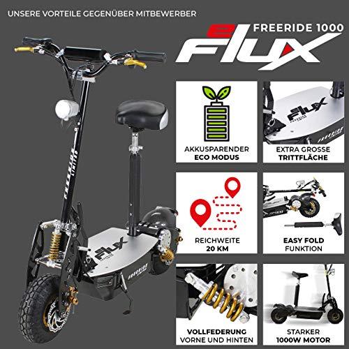 E-Scooter Roller Original E-Flux Freeride 1000 Watt 48 V mit Licht und Freilauf Elektroroller E-Roller in vielen Farben (Limited Gold) - 2