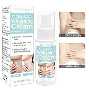 Crema blanqueadora para la piel, crema blanqueadora para la cara, el cuello, el codo, el muslo interior 60 ml