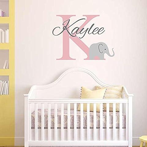 Monogram Kids Name Wall Decal Cute Elephant Custom Name Art Wall Sticker Nursery Wall Decals Vinyl Decal Baby Room Decals