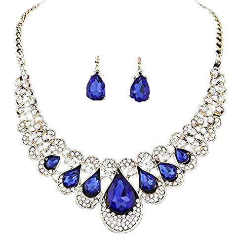 Women Necklaces, Rcool Women Girl Mixed Style Bohemia Color Bib Chain Necklace Earrings Jewelry Set (Blue)