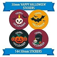 Happy HALLOWEEN - 144 30mm Spooky Halloween stickers - Pumpkins Skulls Bats