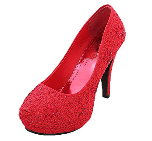 Scothen Talons hauts Stiletto Heel Femmes Pompes fleur de mariage strass nuptiale Platform Shoes Pompes Glitter High Heels Party Pompes femmes travaillent sexy talons aiguilles Plateforme Pompes Rouge