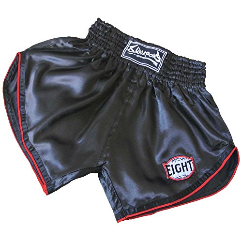 8 WEAPONS Muay Thai Shorts, Retro, schwarz-rot Größe L (Thai Muay Shorts)