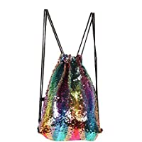 f57193226e04 Tskybag Mermaid Sequin Bag Drawstring Sequins Backpack Glitter Mermaid  Backpacks Magic Dance Bags for Women Girls. See Colour Options