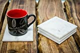 #5: Casa Decor Square Set of 4 Unique, Handmade Coasters For Drinks, Beverages, Wine Glasses - Elegant Look White Marble Coasters