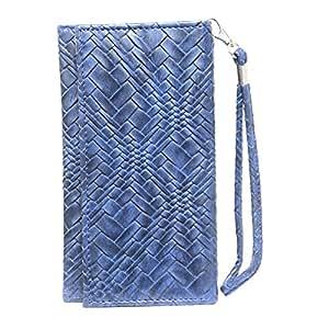 Jo Jo A5 Bali Leather Wallet Universal Pouch Cover Case For Huawei Y3 2 Dark Blue