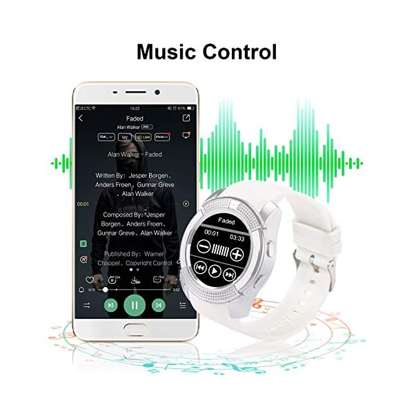 Tipmant Reloj Inteligente Mujer Hombre SN08 Smartwatch Pantalla táctil con Ranura para Tarjeta SIM Cámara Podómetro Pulsera de Actividad para Smartwatch para Xiaomi Samsung Huawei Android (Blanco) 5