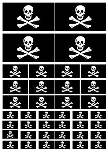 AWS 40Stickers Bandera Negra Piratas Jolly Roger Impermeables para Coche Moto de...