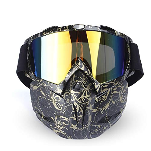 DOLOVE Vintage Motorradbrille Motocross Schießbrille Sportschützen Schutzbrille Antibeschlag Blume Schwarz