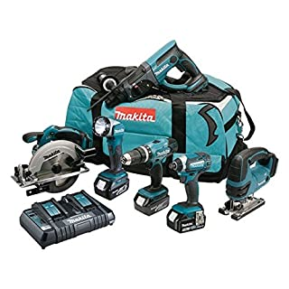 Makita DLX6068PT 18 V Li-ion LXT Combo Kit Complete with 3 x 5.0 Ah Li-ion Batteries and Charger in a Heavy Duty Carry Bag - (6-Piece)