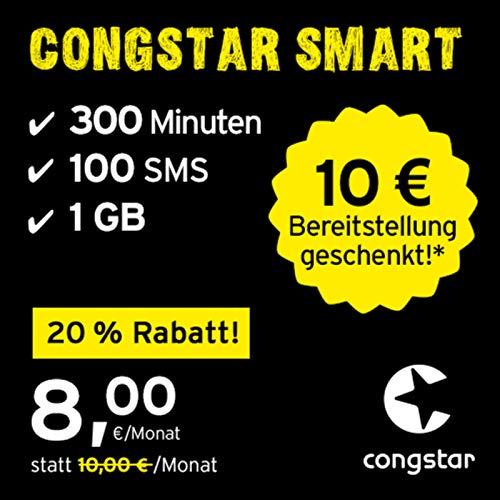 congstar Smart Tarif, SIM, Micro-SIM und Nano-SIM, 24 Monate Laufzeit (8,00 Euro/Monat, 1 GB Datenflat mit max. 25 Mbit/s, monatlich 300 Minuten und 100 SMS) in bester D-Netz-Qualität