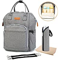 Diaper Backpack Bag with Wide Open Design, Changing Pad, Insulated Cooler Pocket for Bottle Storage, Stroller Straps, for Boys or Girls, Mom or Dad (Gray)