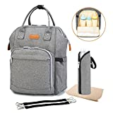 Diaper Backpack Bag with Wide Open Design, Changing Pad, Insulated Cooler Pocket